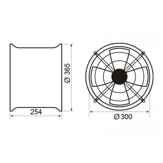 Aspirator industrijski cilindrični M-T fi 300/50W
