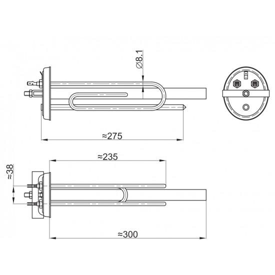 Grejač bojlera 2000W D/K fi 8.1 sa anodom kompletan Srećko