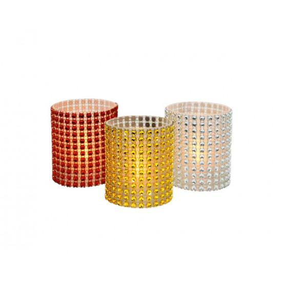 Stakleni svećnjak sa biserima LED