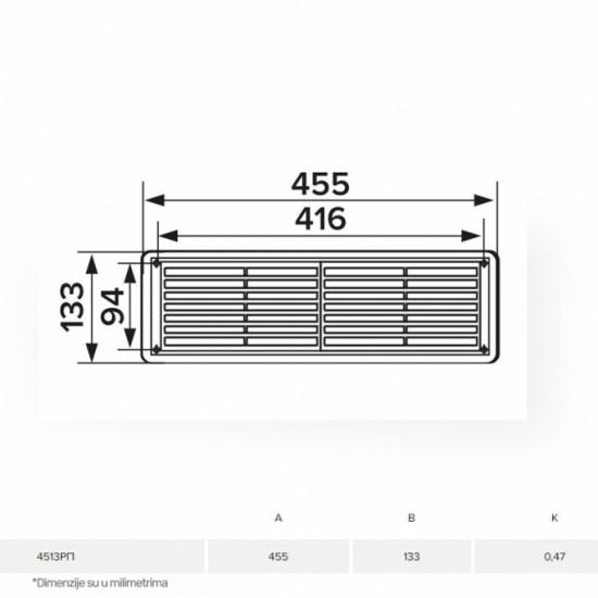 Ventilaciona žaluzina ERA 4513RP BELA 455X133 mm
