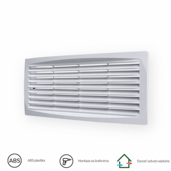 Ventilaciona žaluzina ERA 3013,5DP BELA 300X135 mm